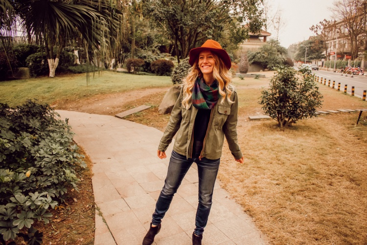 Layered Up For Spring: Fall and Spring Outfit on Courtney Livin